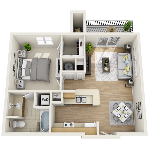 One bedroom apartment for rent in lewisville (637 sq ft)