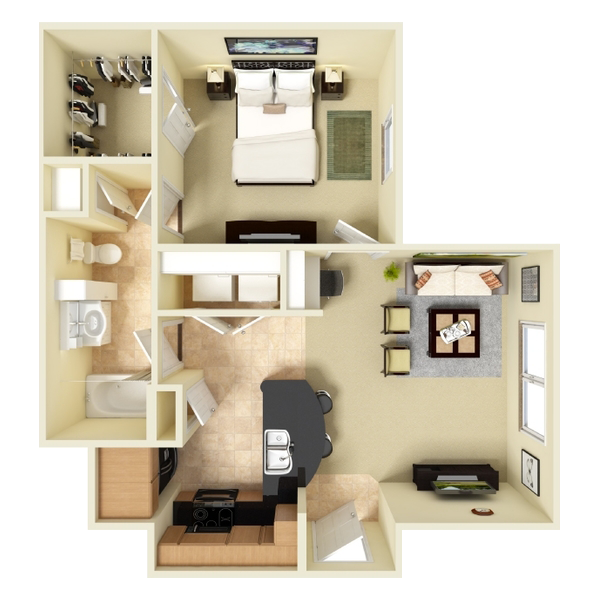 One Bedroom Apartment - 600 Sq. Ft.