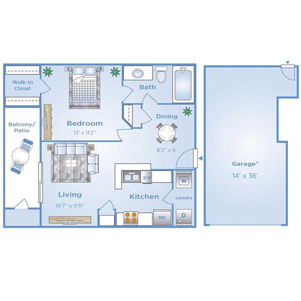 1 bedroom apartment with garage in North Dallas