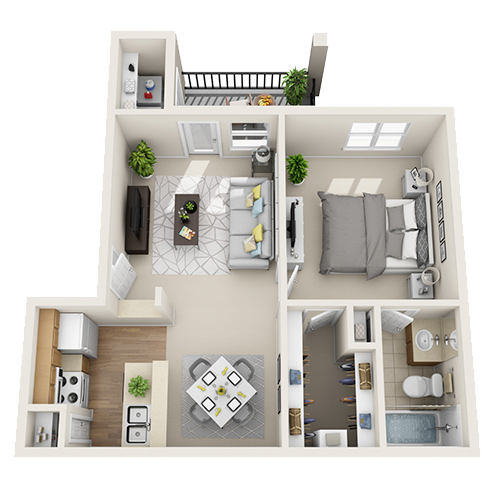 One bedroom apartment Irving (A1 - 575 Sq. ft.)