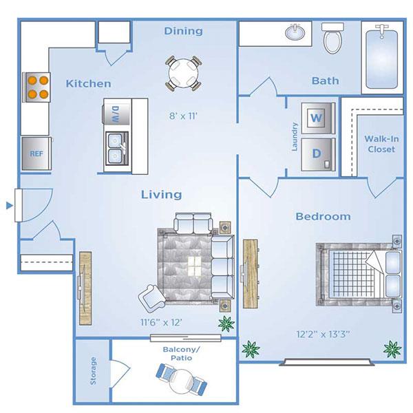 1 bedroom apartment in North Dallas | A2