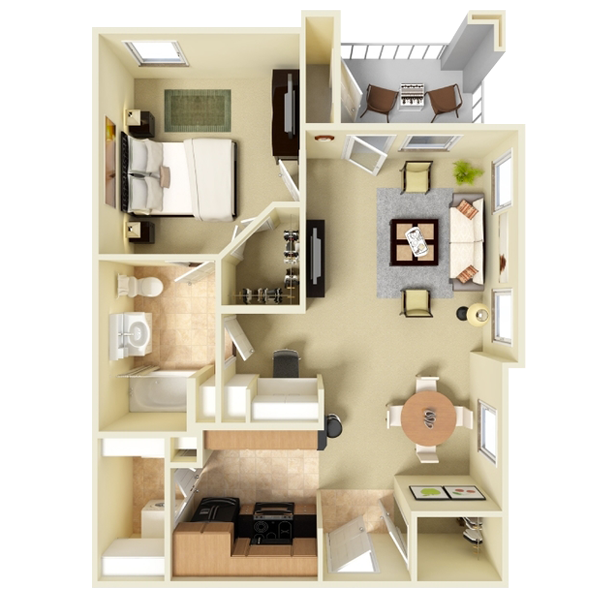 One Bedroom Apartment - 705 Sq. Ft.