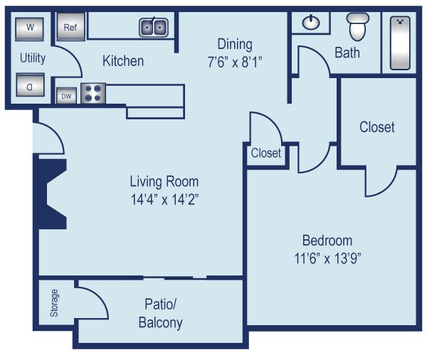 One bedroom apartment in North Dallas (690 Sq. ft.)