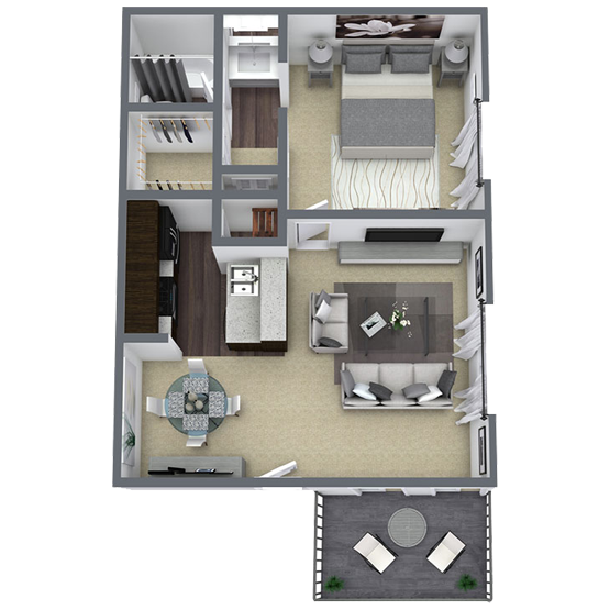 1 bedroom apartment in Lake Highlands, TX | 597 Sq. ft.