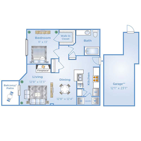 1 bedroom apartment in North Dallas with garage | A3