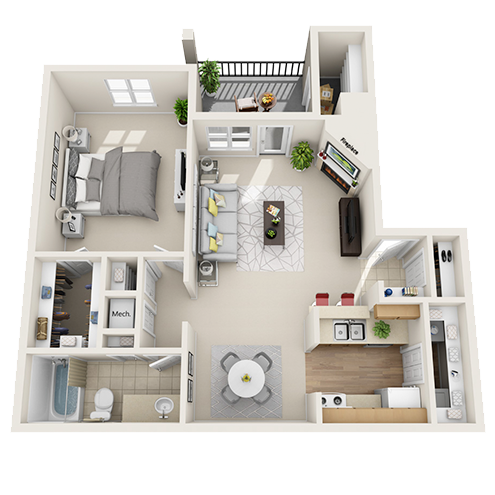 One bedroom apartment Irving (A3 - 758 Sq. ft.)
