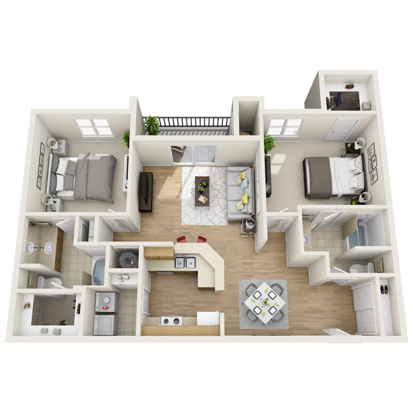 2 bedroom apartment 1,165 sq ft