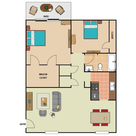 2 Bedroom Apartment in Southwest Forth Worth | 910 sqft