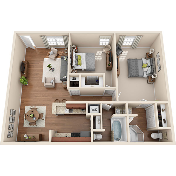Two Bedroom Apartment in Seabrook, TX - 984 Sq. Ft.