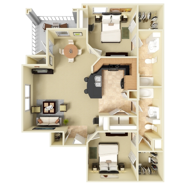 Two Bedroom Apartment - 1,043 Sq. Ft.