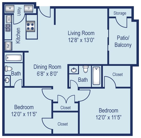 Two bedroom apartment in North Dallas (932 Sq. ft.)