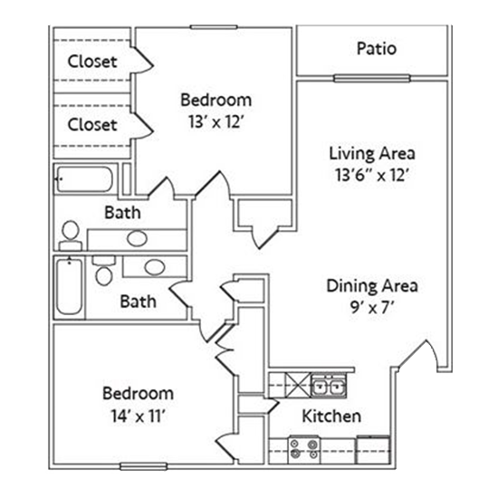 2 Bedroom Apartment in North Richland Hills | 1031 SqFt
