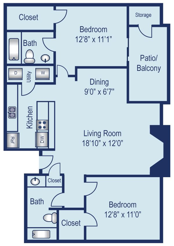 Two bedroom apartment in North Dallas (966 Sq. ft.)
