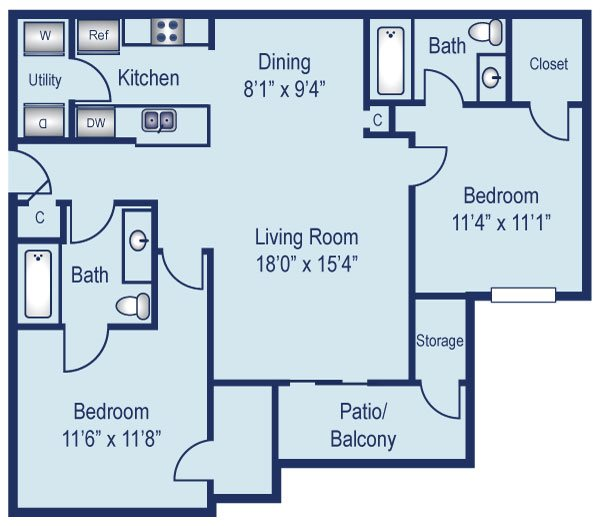 Two bedroom apartment in North Dallas (975 Sq. ft.)
