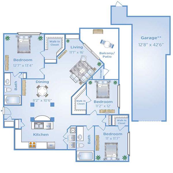 3 bedroom apartment in North Dallas with Garage | C1