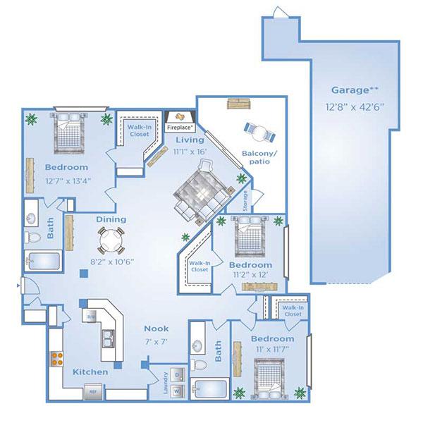 3 Bedroom apartment with Garage in North Dallas | C2