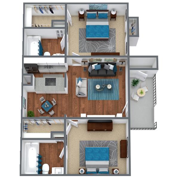 2 Bedroom Apartment in Houston, TX    961 sqft