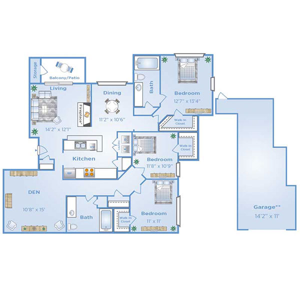 3 bedroom apartment in North Dallas with Garage | D1