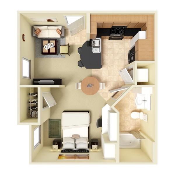 Efficiency Apartment in Houston, TX - 464 Sq. Ft.