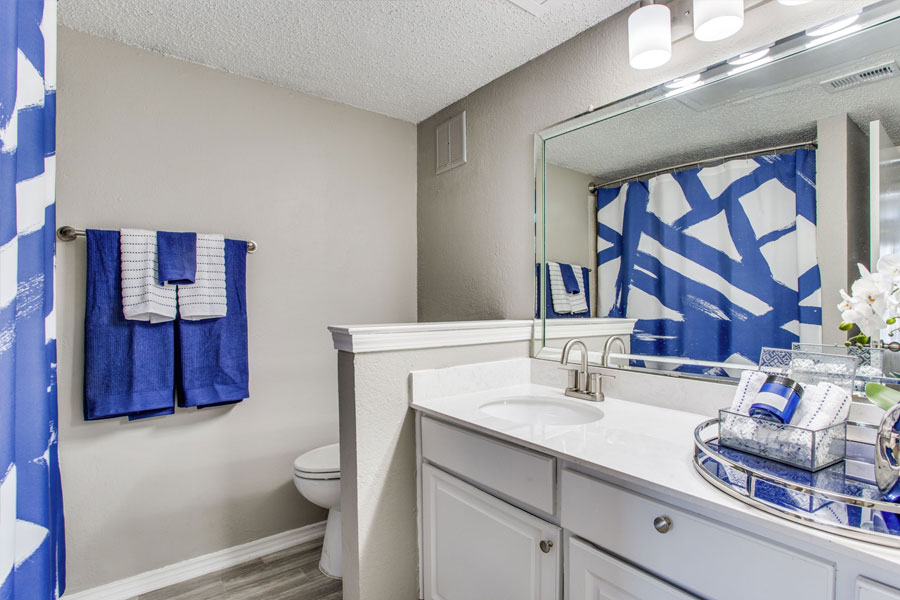 Bath comes with a decorative mirror, brush-nickel fixtures, and plenty of storage space.