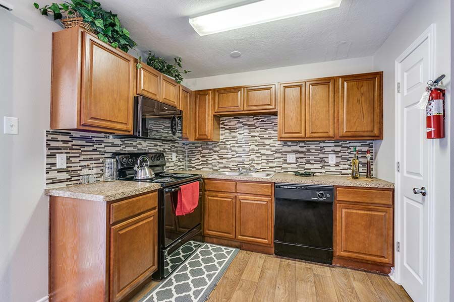 Walk into the kitchen and marvel at the marble backsplash