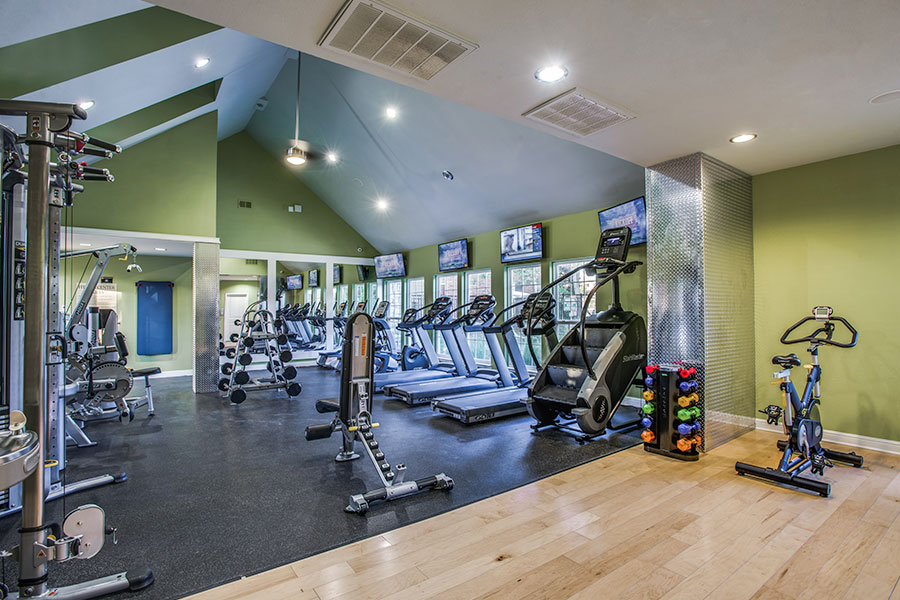 Fully-stocked Fitness Center complete with a variety of exercise equipment.