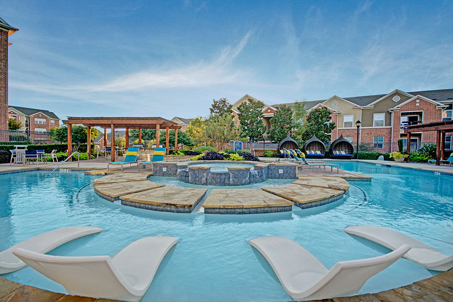 Swimming Pool with Cascading Fountains