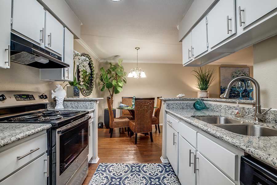 In the kitchen, we've added granite countertops