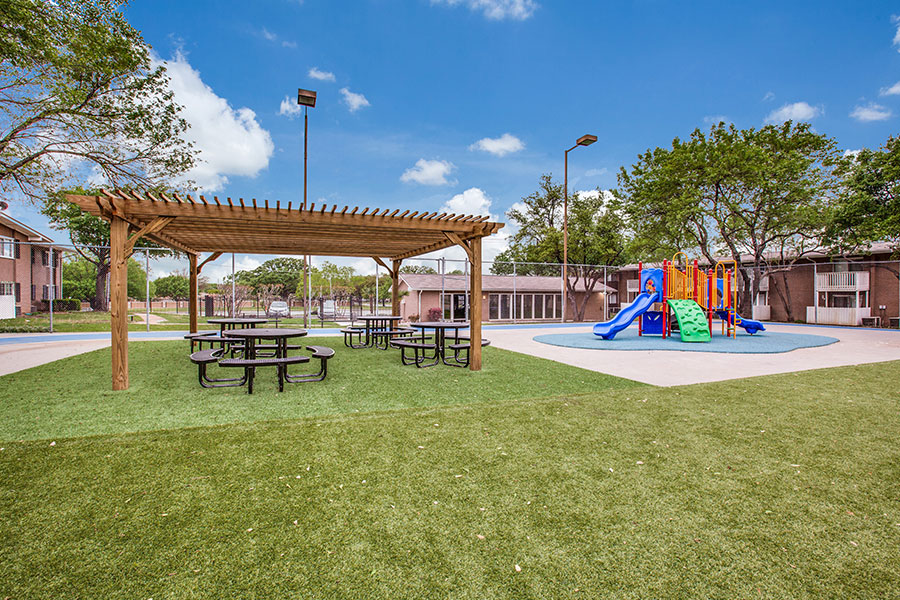 Picnic tables, pergola and plent of green space to exercise.