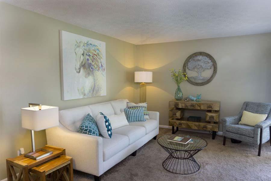 Come home to hardwood-inspired flooring, plush carpeting