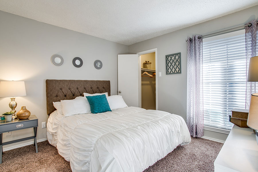 Spacious  bedroom with walk-in closet.