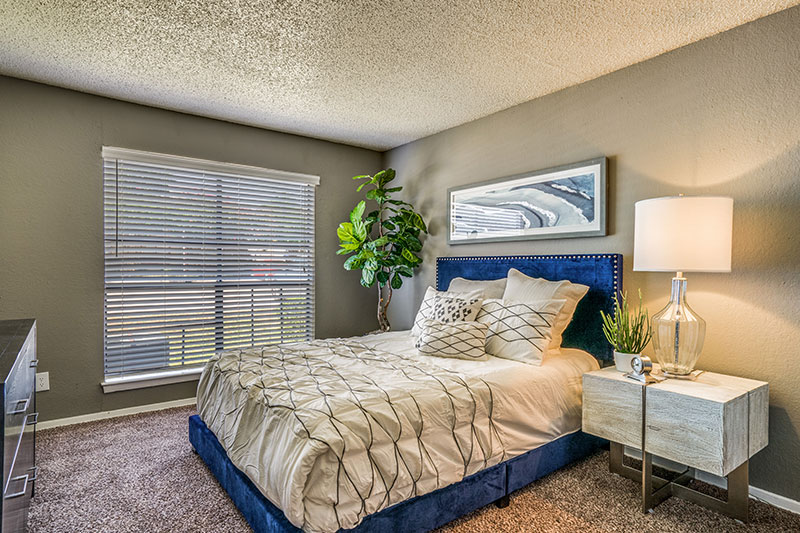 Spacious bedroom with plenty of light, carpet, and walk-in closets.