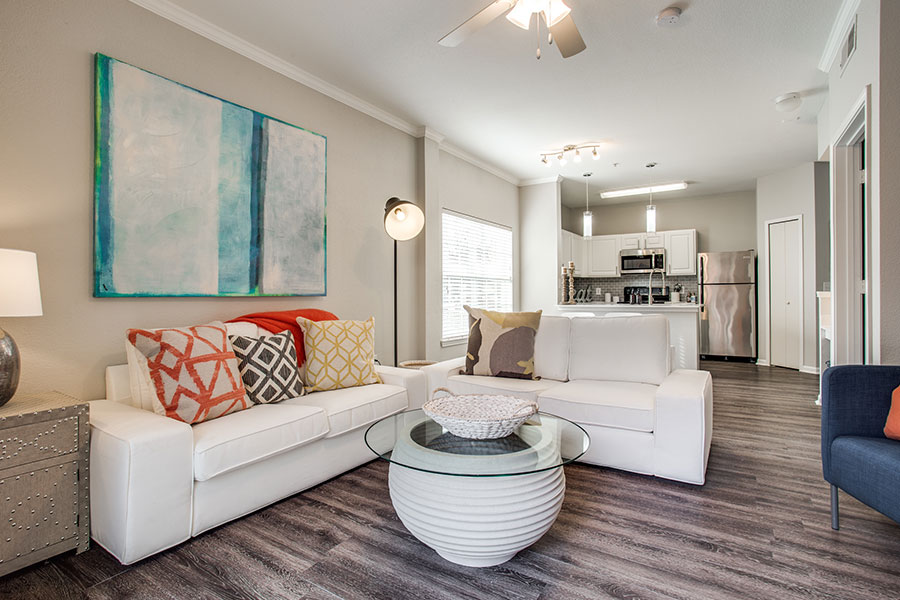 Upgraded apartments with stainless steel appliances, white cabinets and wood plank flooring!