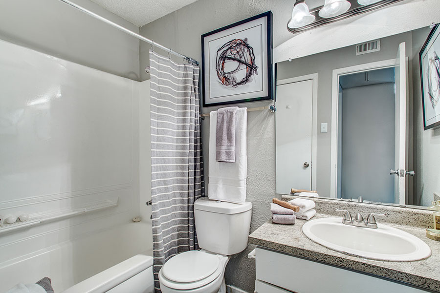 Desginer bath in our upgraded apartment homes for rent in Irving!