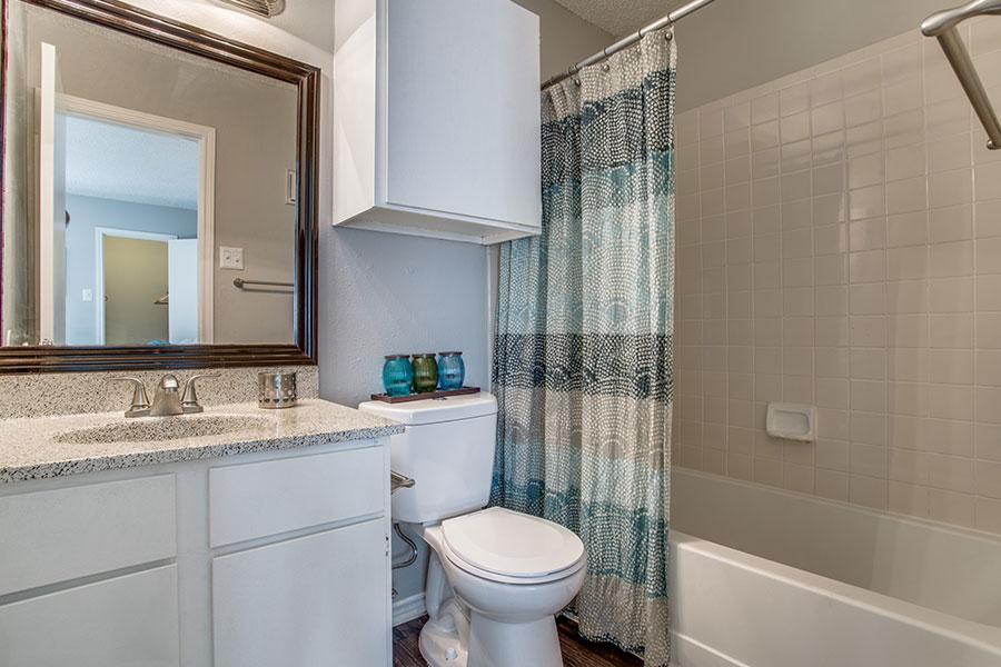 Designer bathroom with plenty of storage!