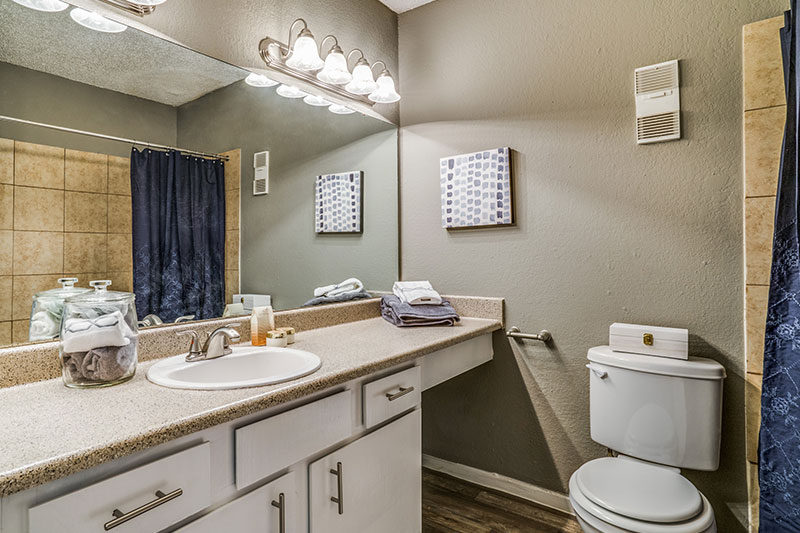 Designer baths with brush nickel fixtures