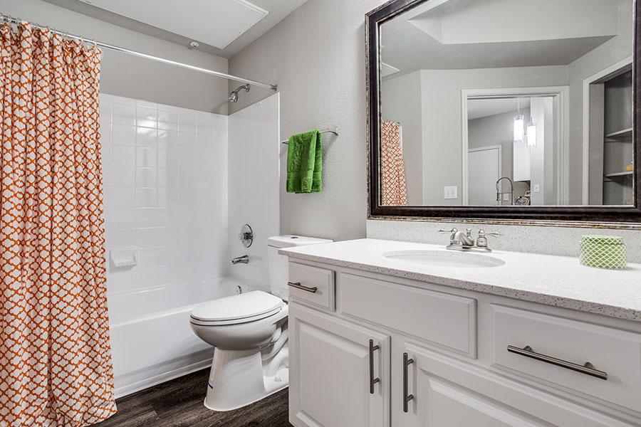 Designer bathoom with plenty of storage.