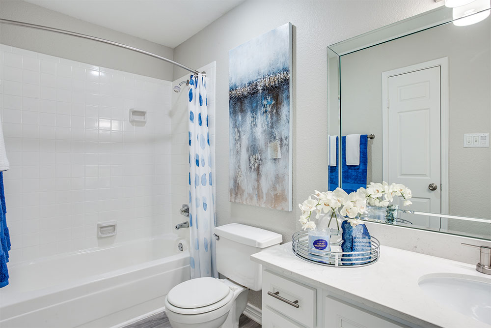 Designer bath with White Cabinetry, Brush Nickle Fixtures and Lighting