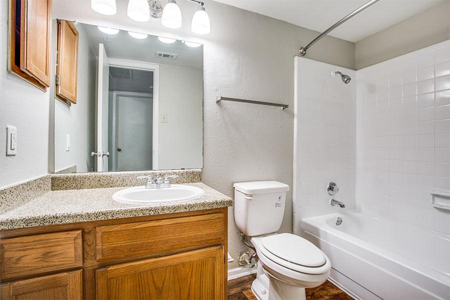 Roomy bathroom with a soothing tub
