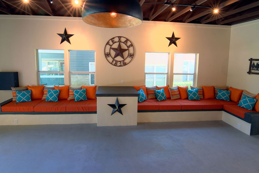 Texas-size couch in the Cabana!