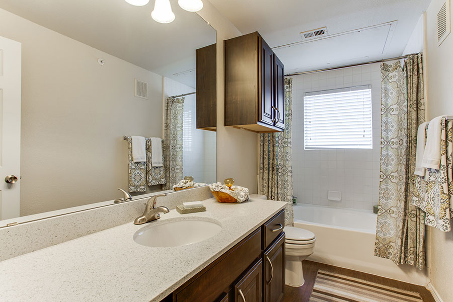 Stunning baths with plenty of storage space.
