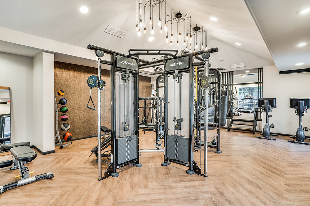 Strength training equipment in the fitness center.
